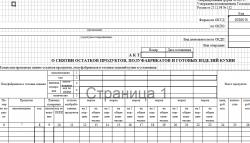 Акт о снятии остатков продуктов, полуфабрикатов и готовых изделий кухни по Форме ОП-15. Скачать документ