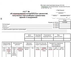 Акт об оприходовании материальных ценностей (Форма М-35). Скачать документ