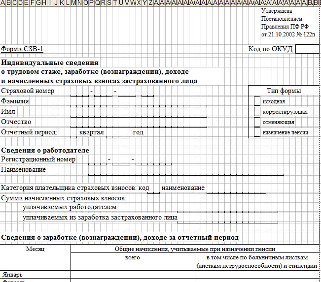 Скачать форму СЗВ – 1. Индивидуальные сведения о трудовом стаже, заработке (вознаграждении), доходе и взносах