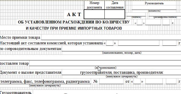 Акт об установленном расхождении по количеству и качеству при приемке импортных товаров. Форма ТОРГ-3 скачать акт
