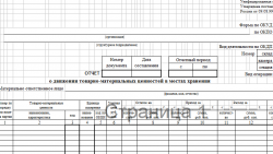 Отчет о движении товарно-материальных ценностей в местах хранения МХ-20 скачать бланк