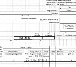 План – меню: форма ОП-2 (скачать документ)