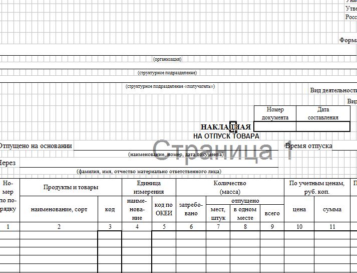 Накладная на отпуск товара: форма ОП-4 (скачать документ)
