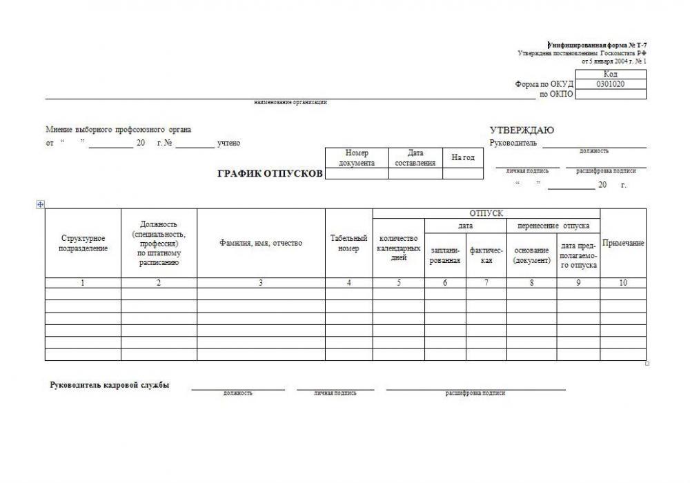 График отпусков Т-7: образец заполнения, бланк скачать