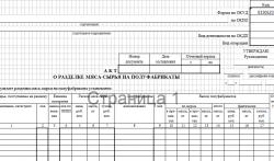 Акт по форме ОП-23 о разделке мясного сырья на полуфабрикаты. Скачать документ