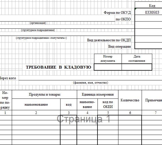 Требования в кладовую (скачать форму ОП-3)