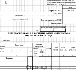 Акт о передаче товаров и тары при смене материально ответственного лица (скачать форму ОП-18)