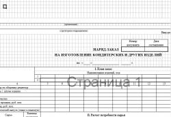 Наряд - заказ на изготовление кондитерских и других изделий (Скачать форму ОП-25)